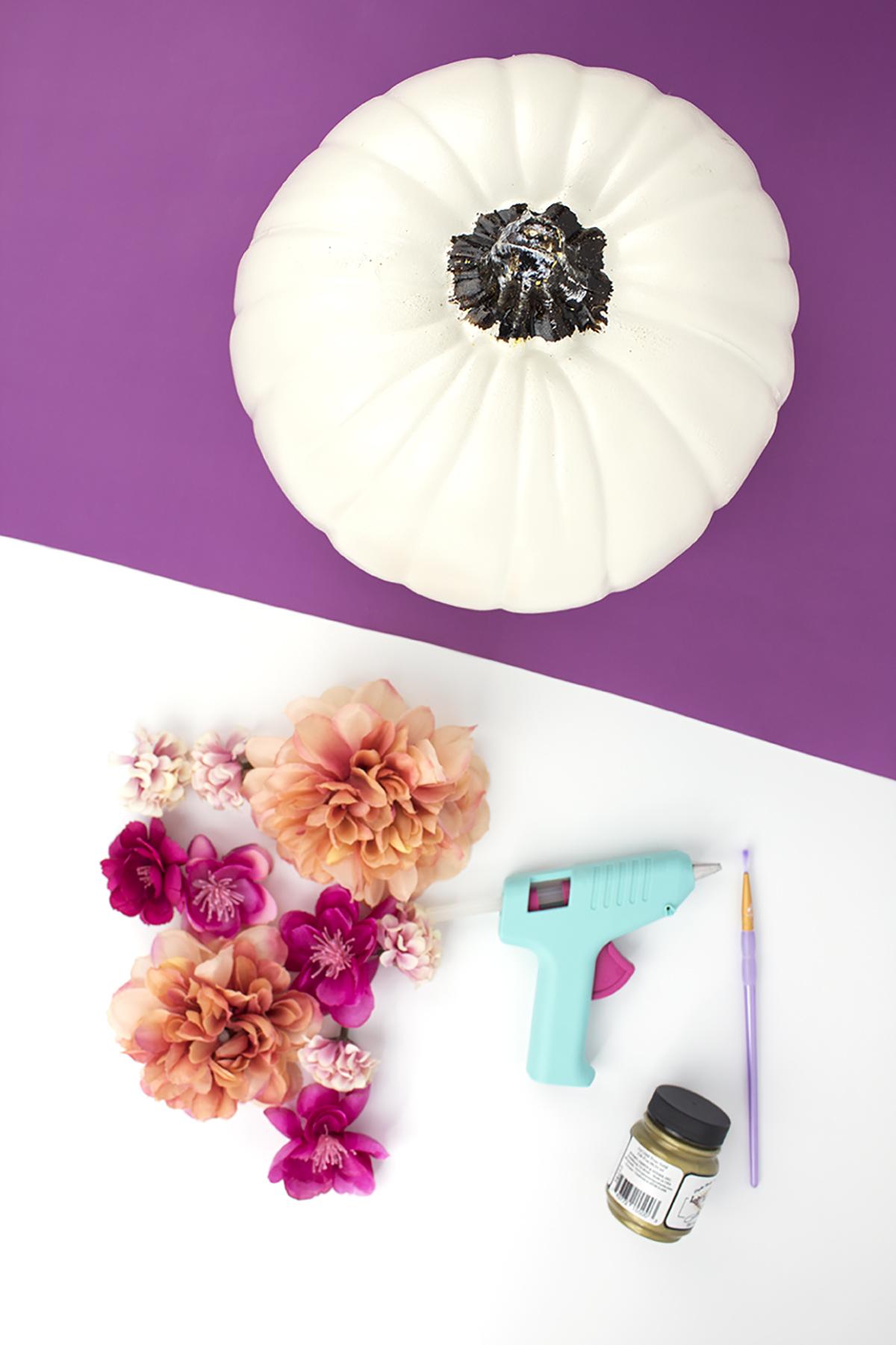 Supplies for DIY Floral Painted Pumpkin