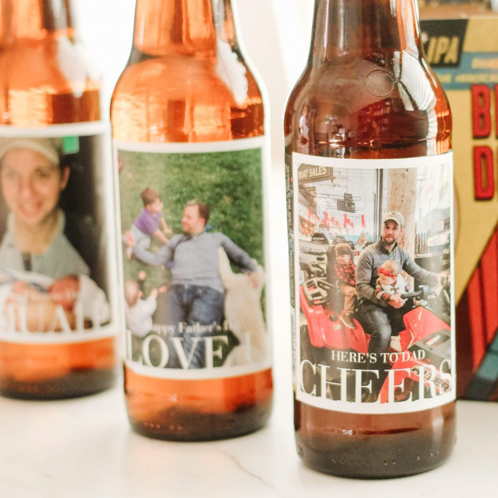 Photo Bottle Labels by Pinhole Press. Personalized beer labels made by @simplywholemoms.